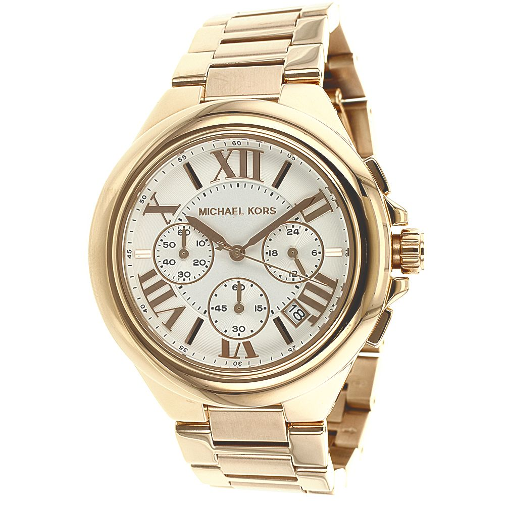 626-333 - Michael Kors Women's Camille Quartz Chronograph Rose-tone Stainless Steel Bracelet Watch