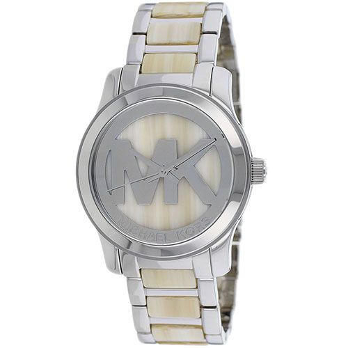 626-336 - Michael Kors Women's Runway Quartz MK Logo Alabaster Bracelet Watch