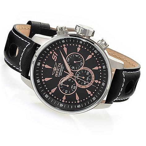 626-367 - Invicta 48mm S1 Rally GPX Quartz Chronograph Leather Strap Watch w/ Three-Slot Dive Case