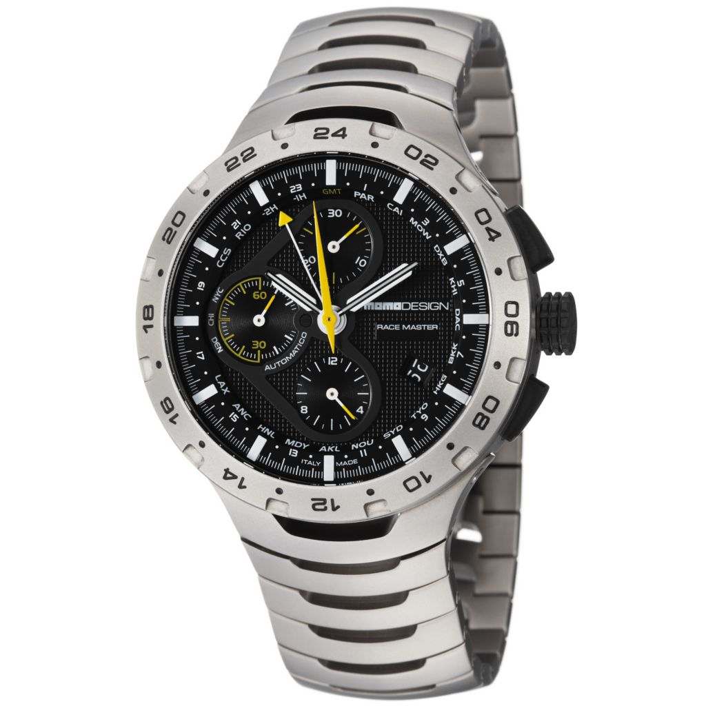 626-377 - MOMODESIGN 44mm Master Racer Swiss Automatic Chronograph Titanium Bracelet Watch