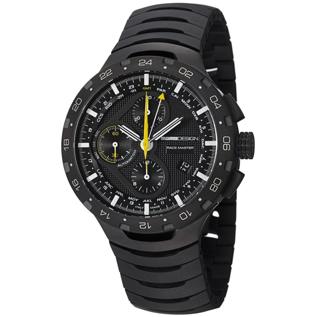 626-378 - Momo Design 44mm Master Racer Swiss Automatic Chronograph Black Titanium Bracelet Watch
