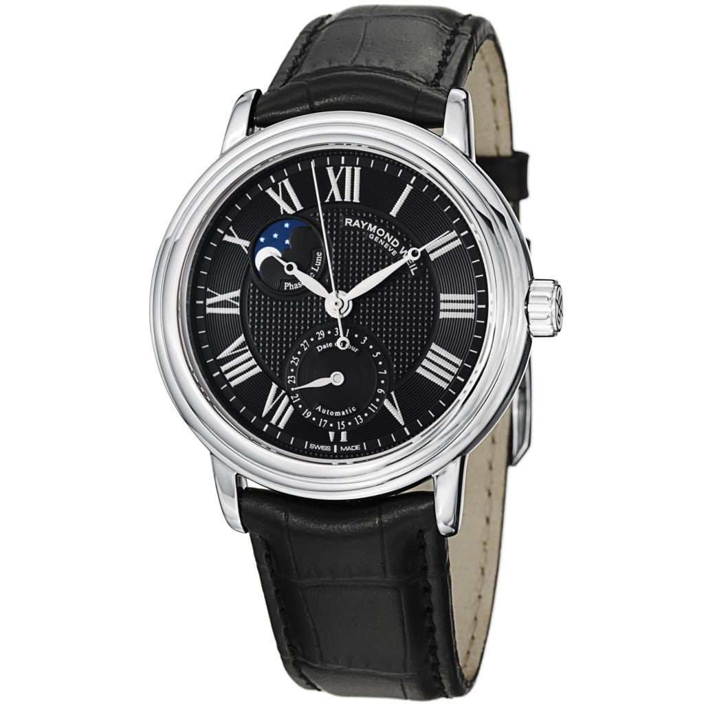 626-384 - Raymond Weil 39.5mm Maestro Swiss Automatic Moon Phase Leather Strap Watch