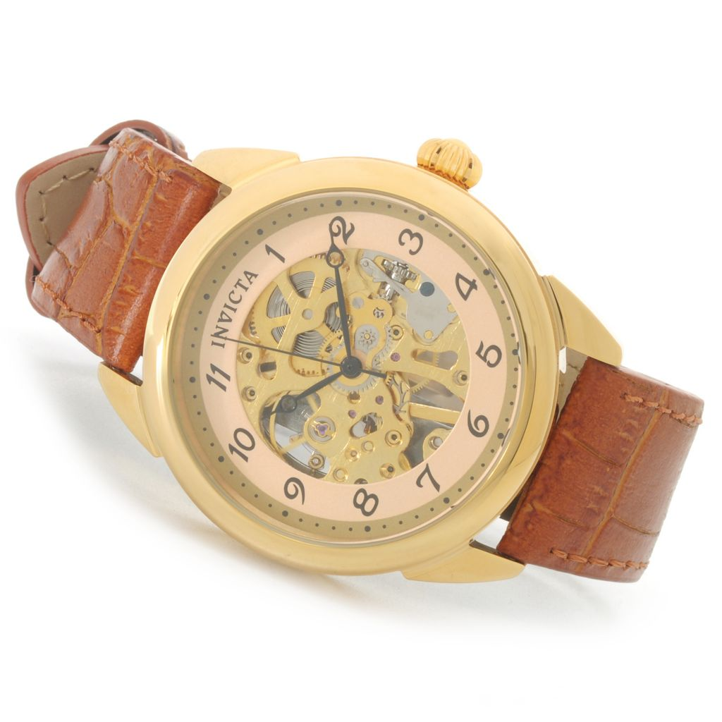 626-412 - Invicta Vintage 36mm or 42mm Mechanical Skeletonized Dial Stainless Steel Leather Strap Watch