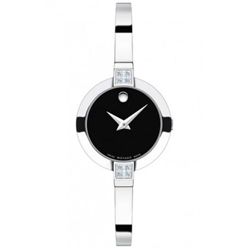 626-414 - Movado Women's Bela Swiss Quartz Diamond Accented Stainless Steel Bracelet Watch