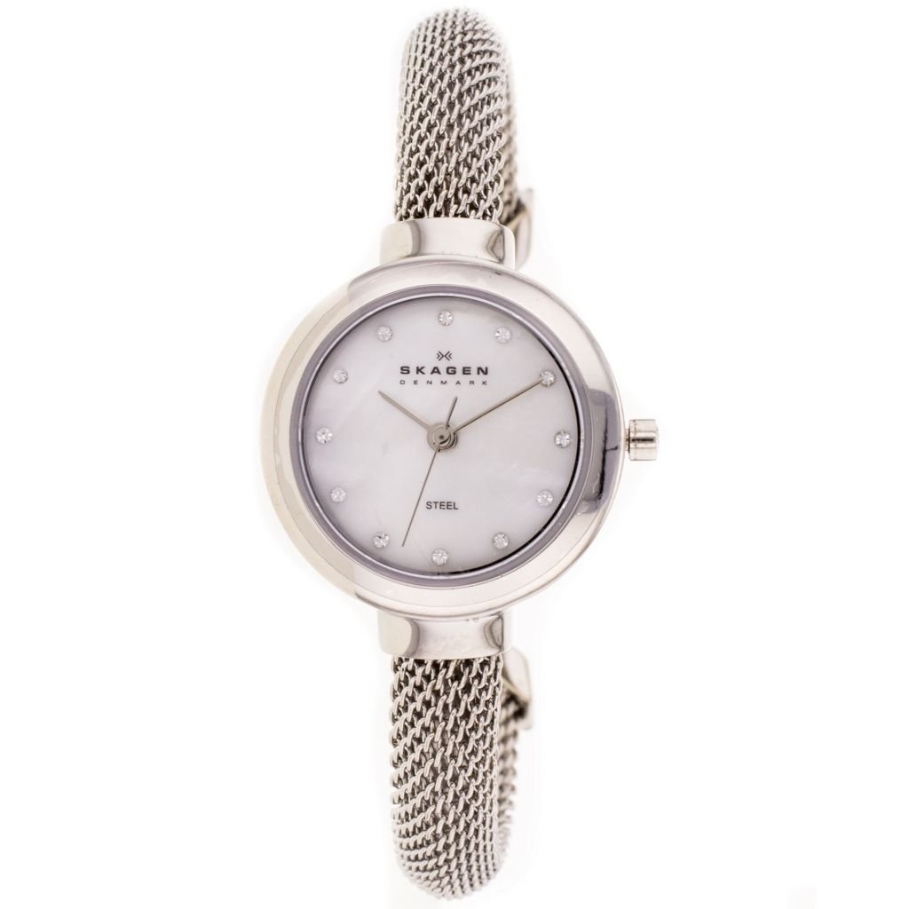 626-420 - Skagen Women's Glitz Quartz Mother-of-Pearl Dial Stainless Steel Bangle Bracelet Watch
