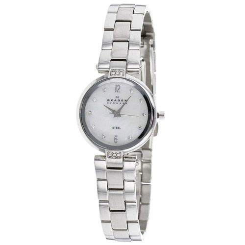 626-421 - Skagen Women's Glitz Quartz Mother-of-Pearl Dial Stainless Steel Bracelet Watch