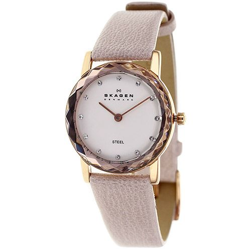 626-423 - Skagen Women's Classic Quartz Faceted Bezel Metallic Leather Strap Watch