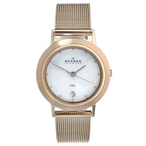 626-424 - Skagen Women's Classic Quartz Mother-of-Pearl Dial Stainless Steel Mesh Bracelet Watch