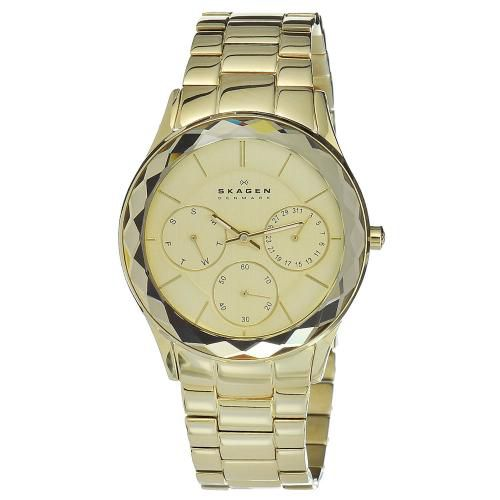 626-425 - Skagen Women's Steel Quartz Day & Date Faceted Bezel Stainless Steel Bracelet Watch