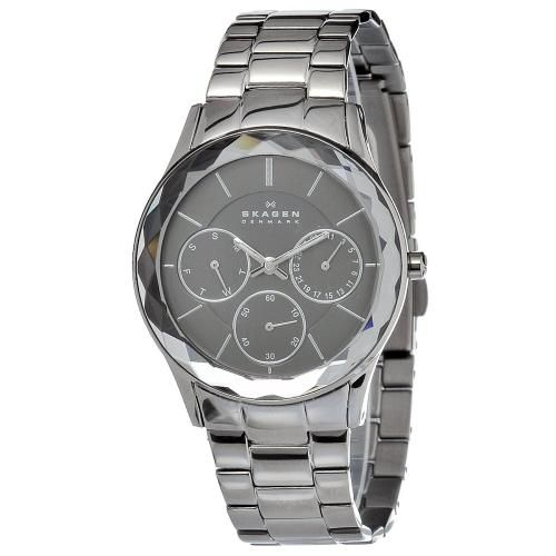 626-426 - Skagen Women's Steel Quartz Day & Date Faceted Bezel Bracelet Watch