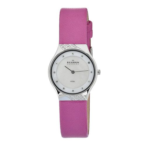 626-433 - Skagen Women's Crystal Accented Case Mother-of-Pearl Dial Leather Strap Watch