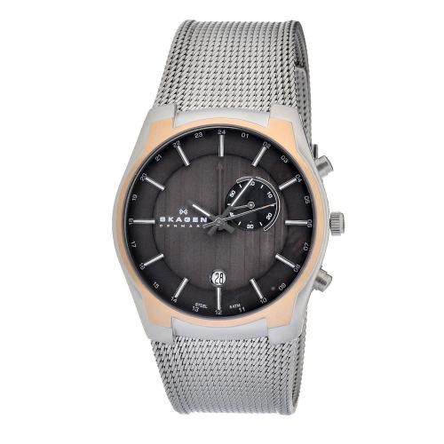 626-436 - Skagen 40mm Black Label Quartz GMT & Alarm Stainless Steel Mesh Bracelet Watch