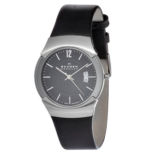 626-438 - Skagen 39mm Black Label Swiss Quartz Leather Strap Watch