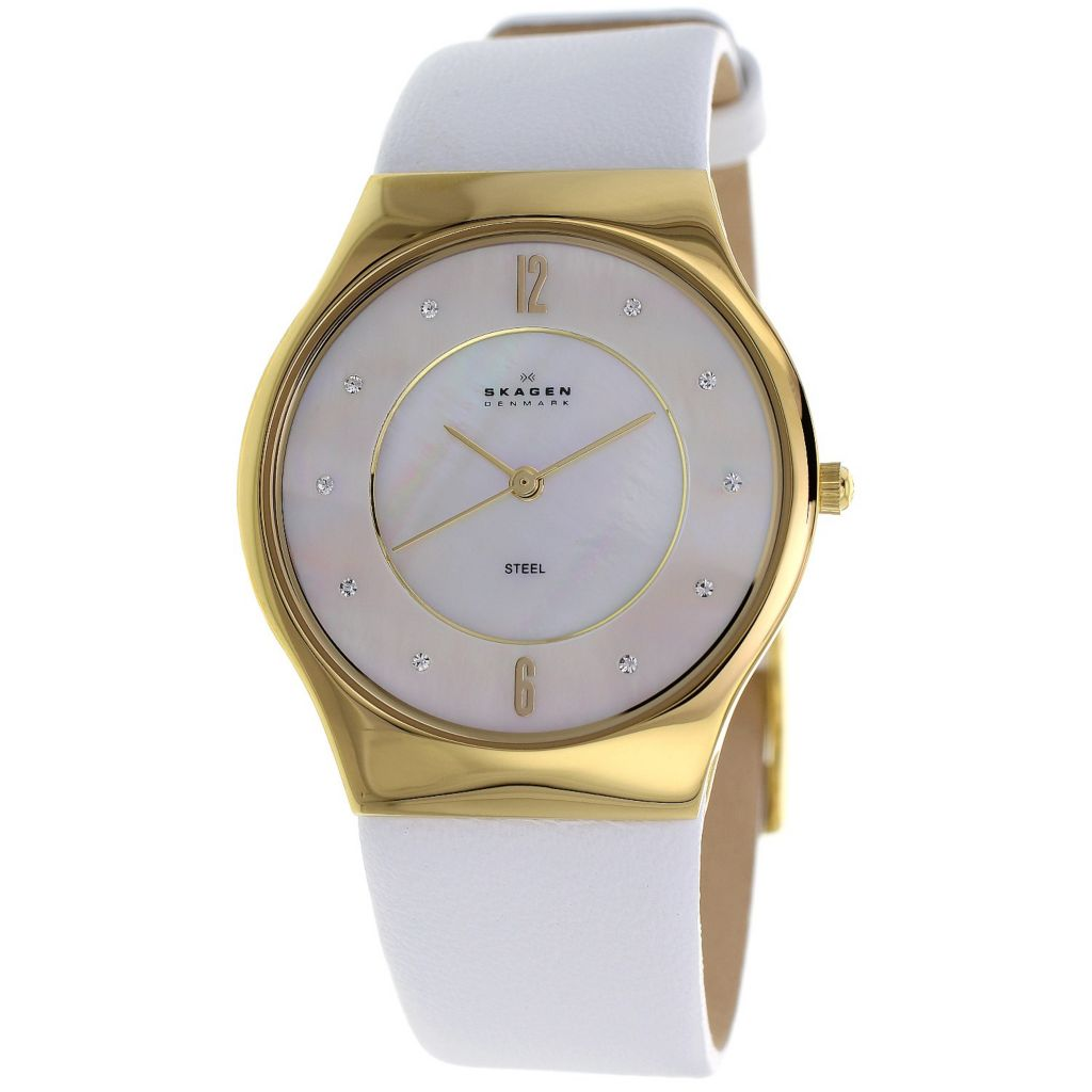 626-441 - Skagen Women's Quartz Crystal Accented Mother-of-Pearl Dial Leather Strap Watch