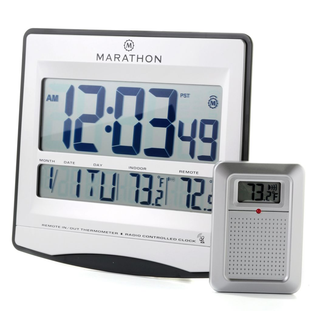 626-442 - Marathon Atomic Wall Clock w/ Wireless Temperature Remote