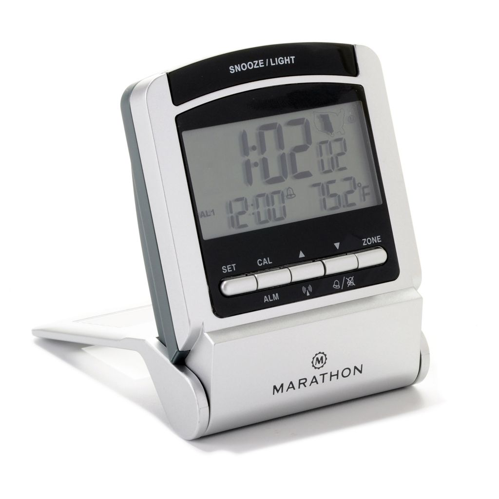 626-444 - Marathon Atomic Alarm Travel Clock w/ Built-in Stand
