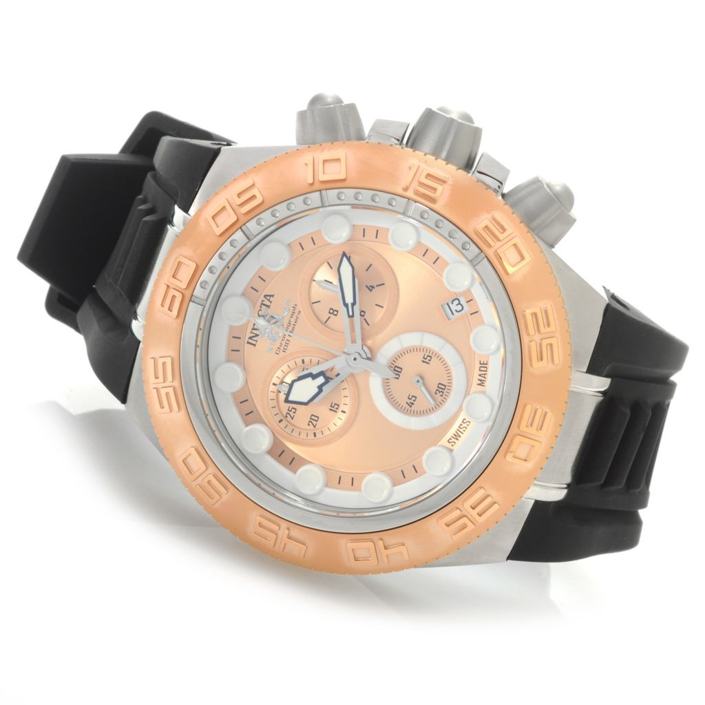 626-448 - Invicta 50mm Subaqua Sport Swiss Chronograph Silicone Strap Watch w/ One-Slot Dive Case