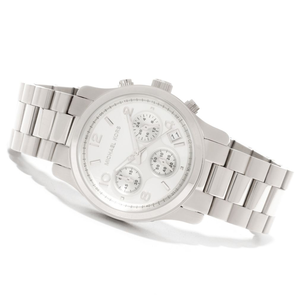 626-453 - Michael Kors Women's Runway Quartz Chronograph Stainless Steel Bracelet Watch