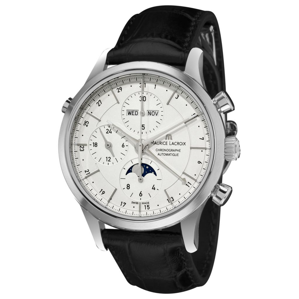 626-455 - Maurice Lacroix 41mm Les Classiques Swiss Made Automatic Chronograph Moonphase Leather Watch