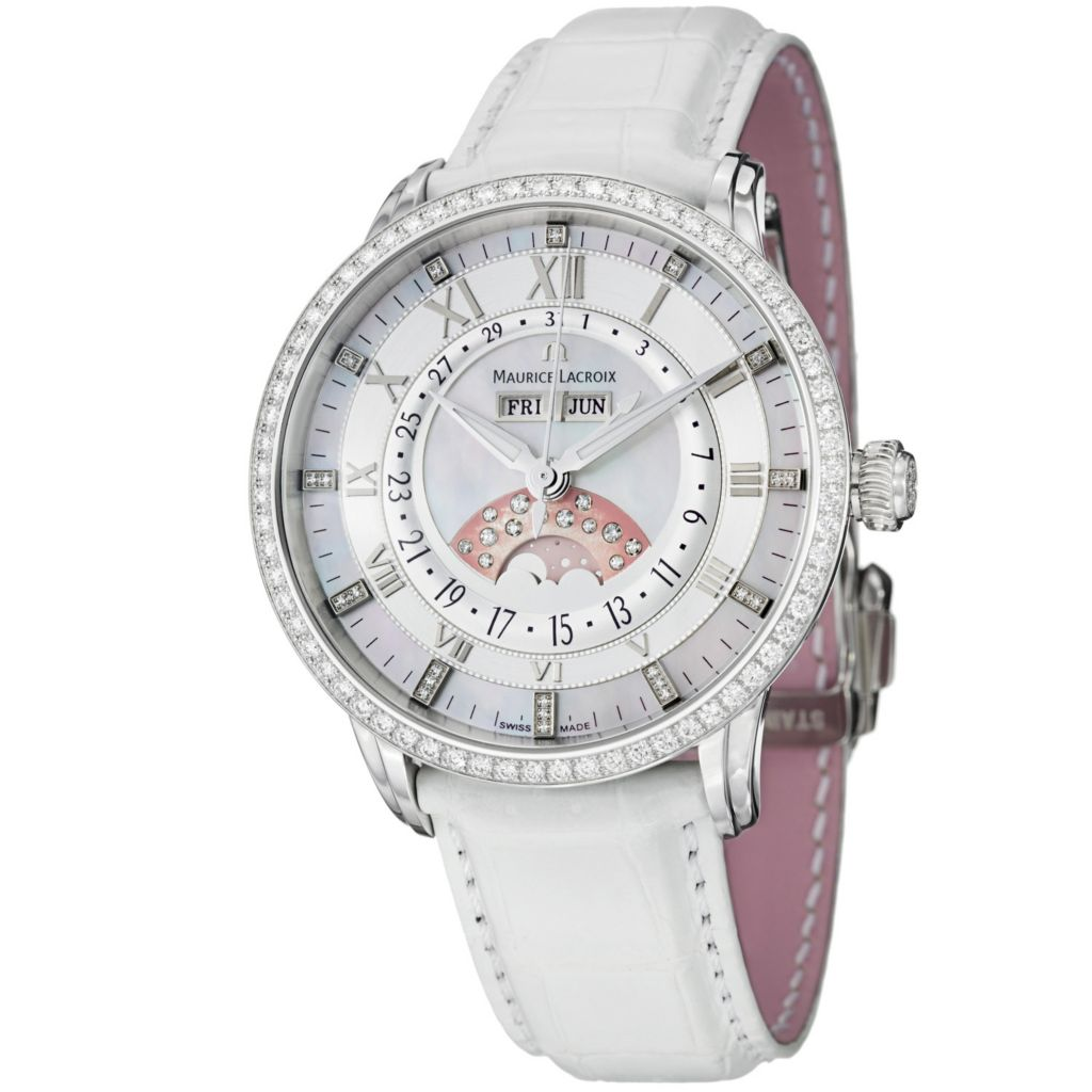 626-461 - Maurice Lacroix Women's Masterpiece Swiss Made Automatic Moonphase Diamond Accent Leather Watch