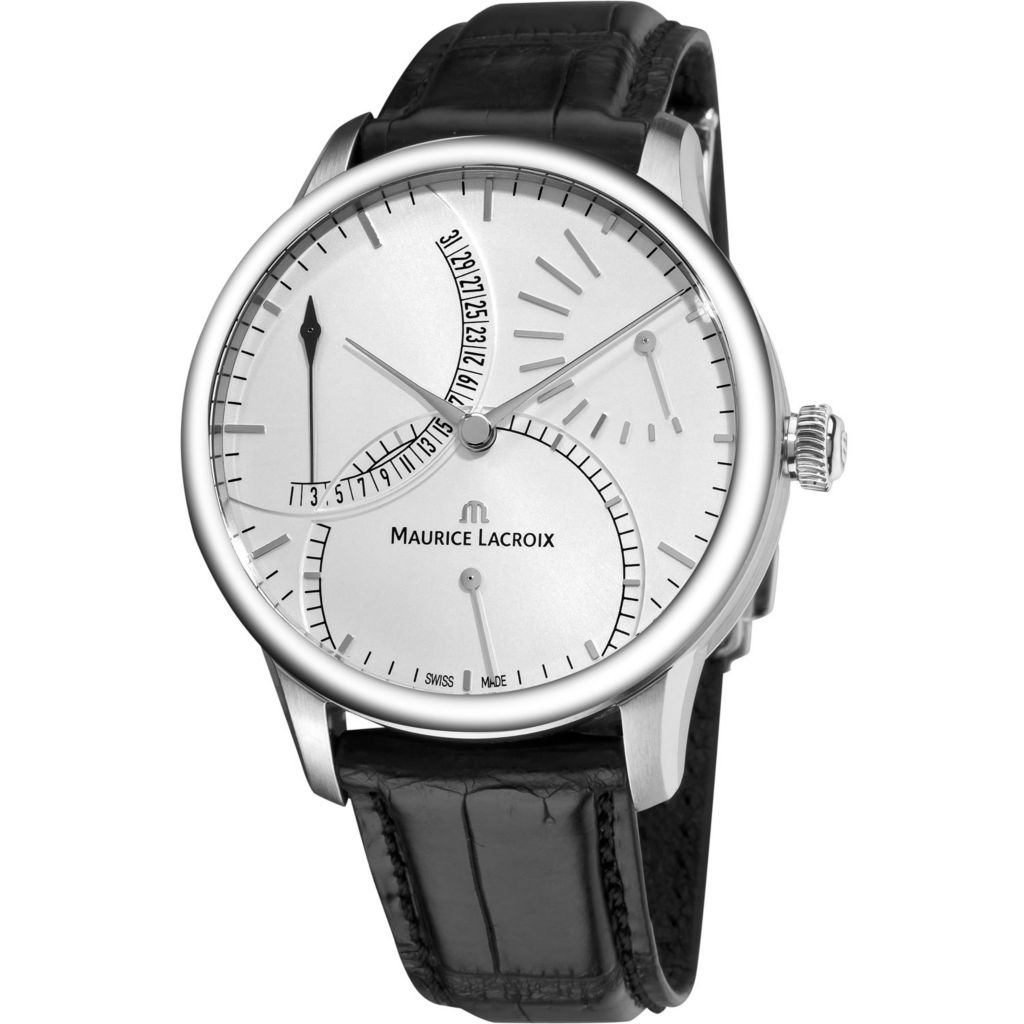 626-463 - Maurice Lacroix 43mm Masterpiece Swiss Made Automatic Retrograde Crocodile Strap Watch