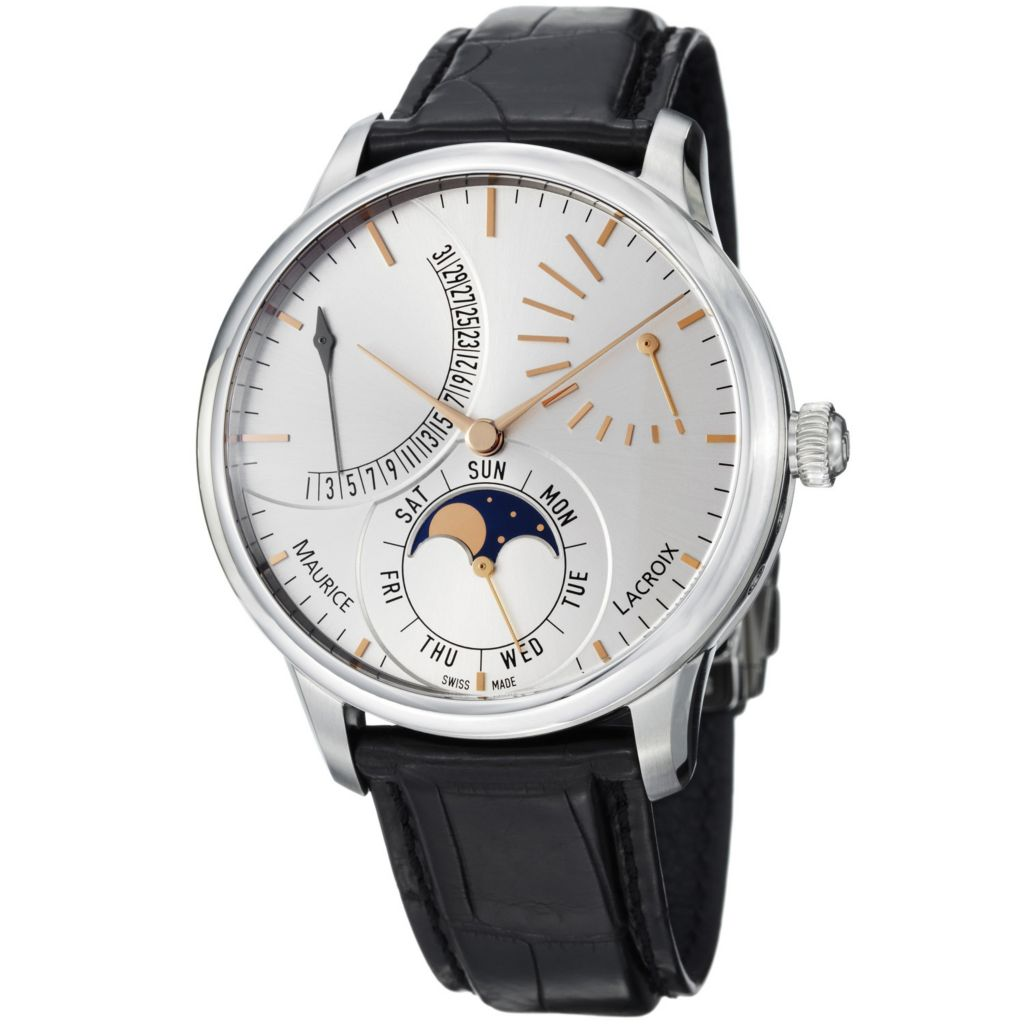 626-464 - Maurice Lacroix 43mm Masterpiece Swiss Made Automatic Moonphase Retrograde Crocodile Strap Watch