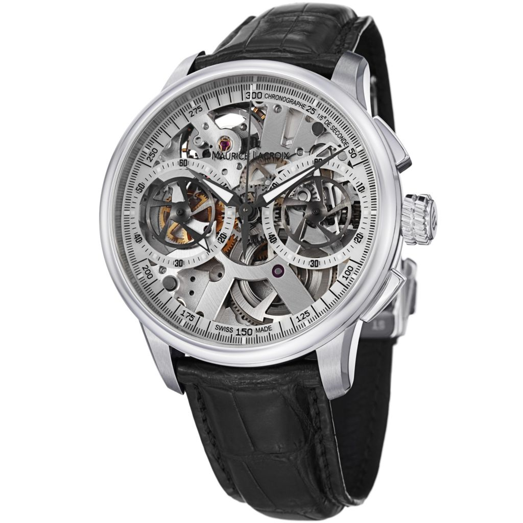 626-467 - Maurice Lacroix 45mm Masterpiece Swiss Made Mechanical Chronograph Skeleton Leather Watch