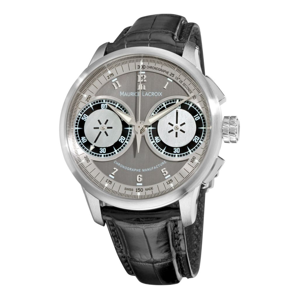 626-468 - Maurice Lacroix 45mm Masterpiece Swiss Made Mechanical Chronograph Crocodile Strap Watch