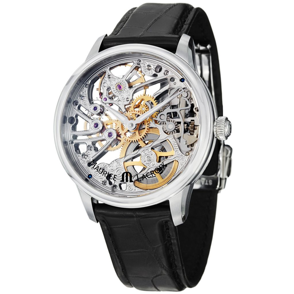 626-469 - Maurice Lacroix 43mm Masterpiece Tradition Swiss Made Mechanical Skeleton Crocodile Strap Watch