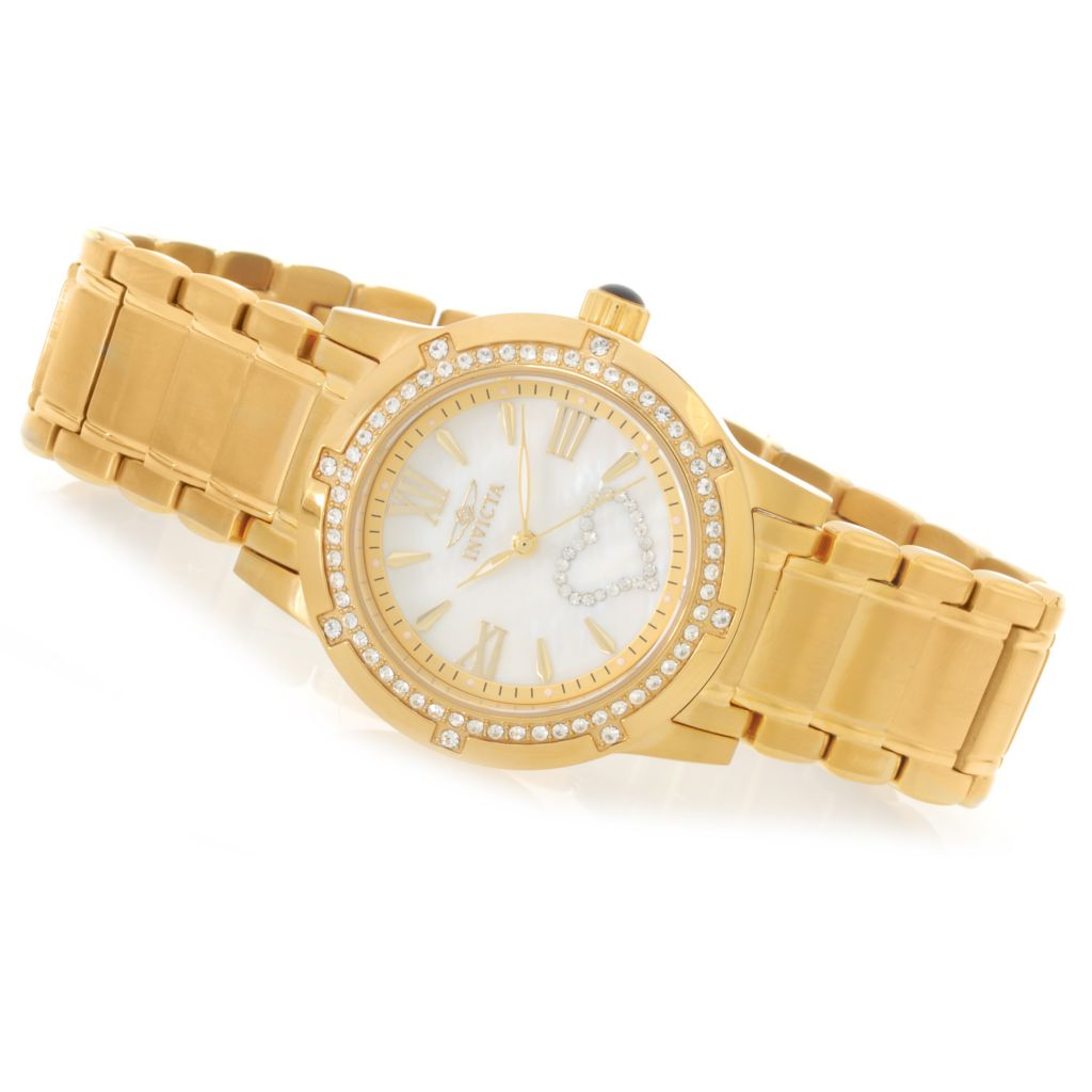 626-480 - Invicta Women's Angel Quartz Crystal Hearts Bracelet Watch w/ Travel Box