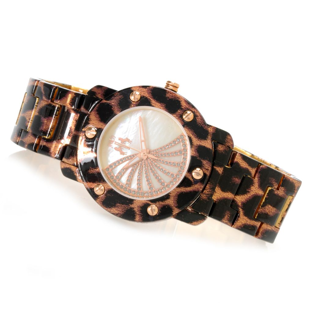 626-498 - Jivago Women's Feline Quartz Mother-of-Pearl Animal Print Bracelet Watch