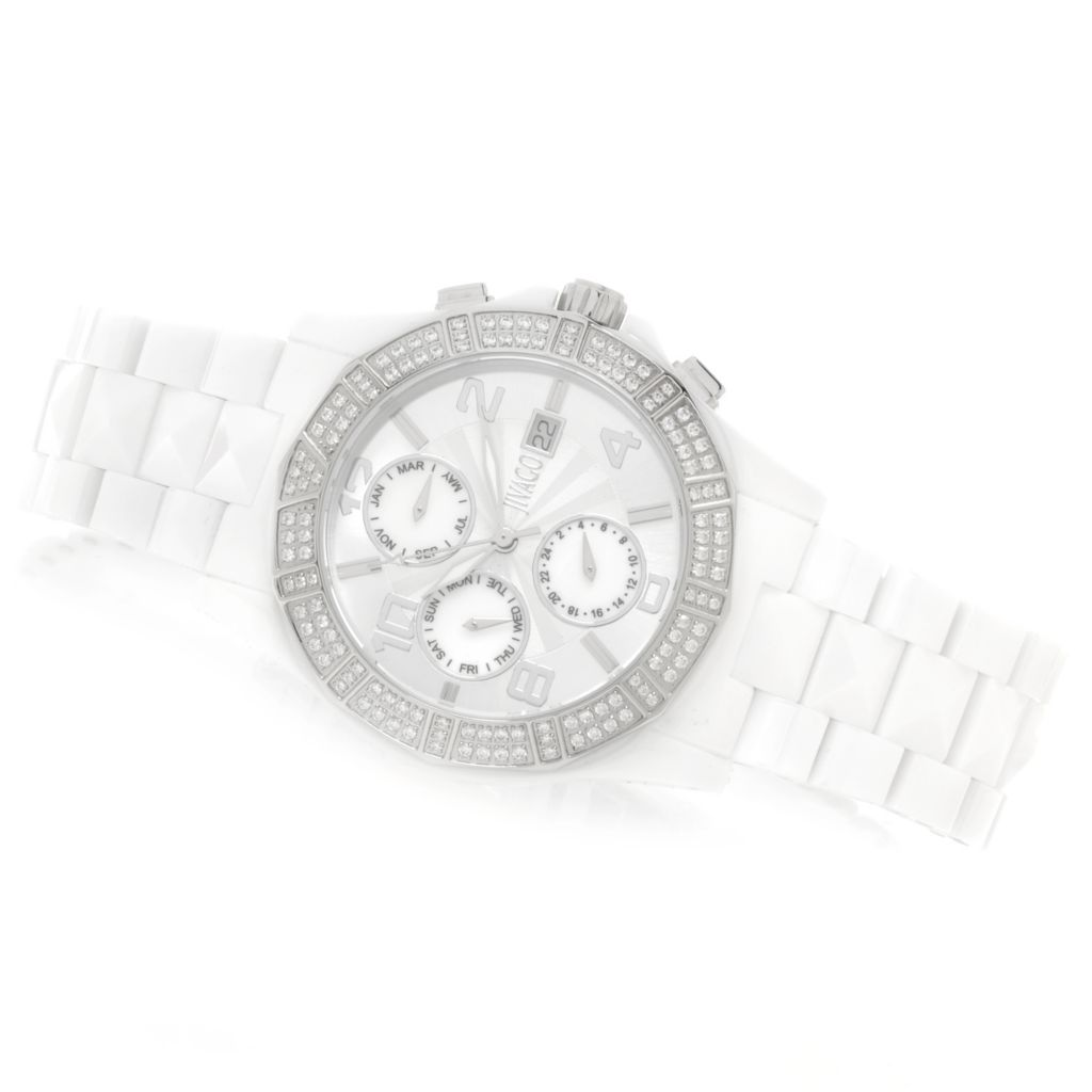 626-499 - Jivago Women's Prexy Quartz Crystal Accented Mother-of-Pearl Bracelet Watch