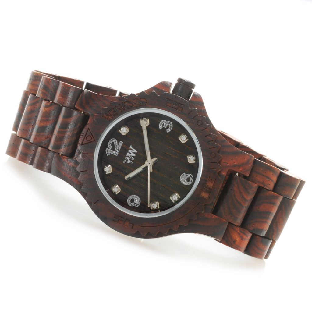 "626-506 - WeWOOD Women's ""Deneb"" Quartz Crystal Accented Wooden Bracelet Watch"