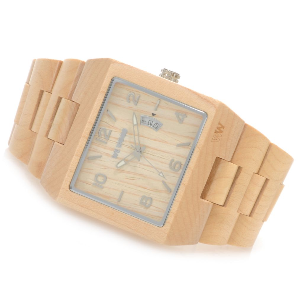 "626-507 - WeWOOD Rectangular ""Sculptor"" Quartz Wooden Bracelet Watch"
