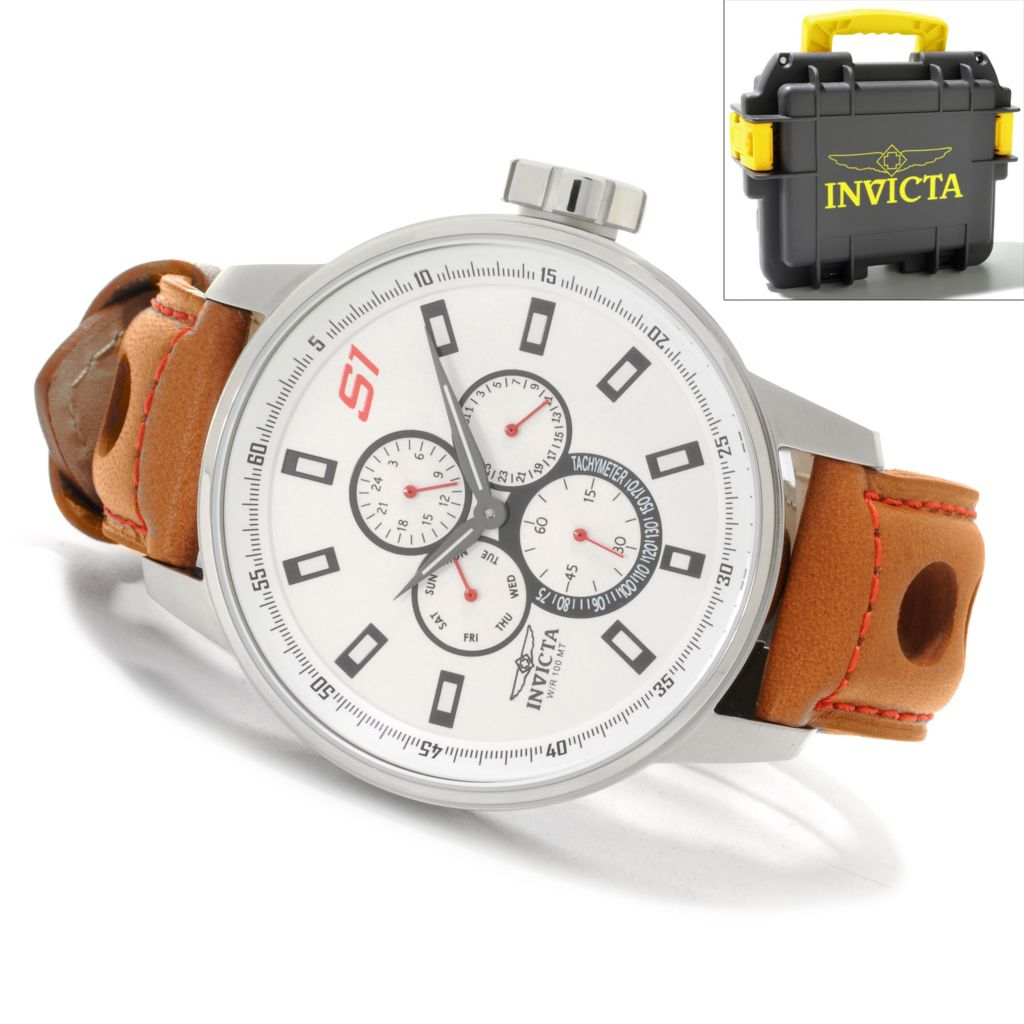626-511 - Invicta 48mm S1 Rally GPX Quartz Leather Strap Watch w/ Three-Slot Dive Case