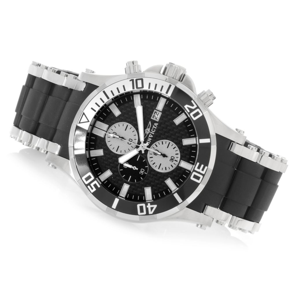 626-517 - Invicta 50mm Sea Spider Quartz Chronograph Stainless Steel Polyurethane Bracelet Watch