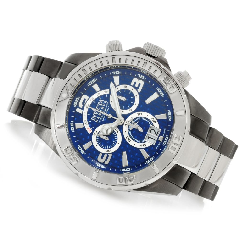 626-520 - Invicta Reserve 52mm Specialty Swiss Chronograph Carbon Fiber Dial Bracelet Watch