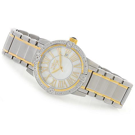 626-522 - Invicta Women's Specialty Quartz Diamond Accented Mother-of-Pearl Bracelet Watch