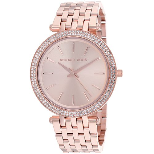 626-556 - Michael Kors Women's Darci Quartz Crystal Accent Bezel Stainless Bracelet Watch