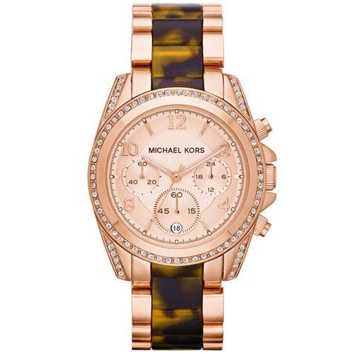 626-562 - Michael Kors Women's Blair Quartz Chronograph Faux Tortoise/Stainless Steel Bracelet Watch
