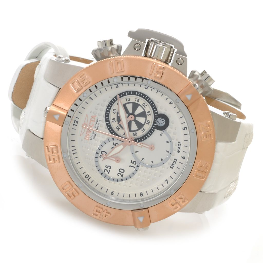 626-567 - Invicta 50mm Subaqua Noma III Swiss Chronograph Stainless Steel Leather Strap Watch
