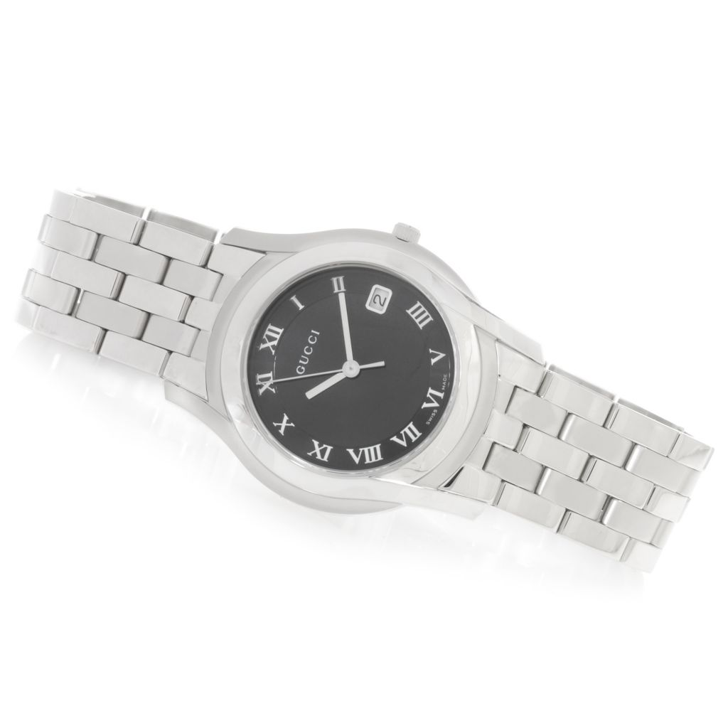 626-572 - Gucci 35mm 5505 G Classic Swiss Made Quartz Sunray Dial Stainless Steel Bracelet Watch
