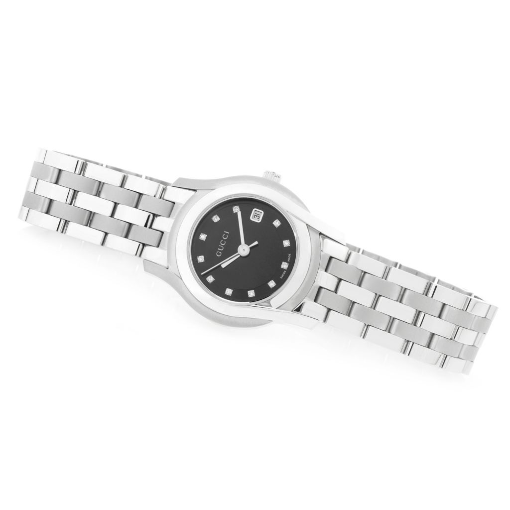626-573 - Gucci Women's 5505 G Classic Swiss Made Quartz Sunray Dial Stainless Steel Bracelet Watch