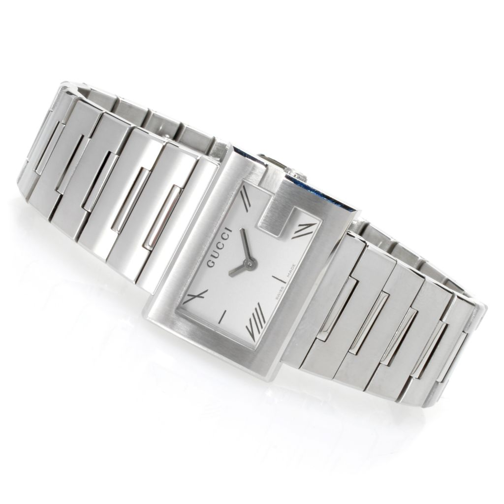 626-574 - Gucci Women's G Rectangle Swiss Made Quartz Stainless Steel Bracelet Watch