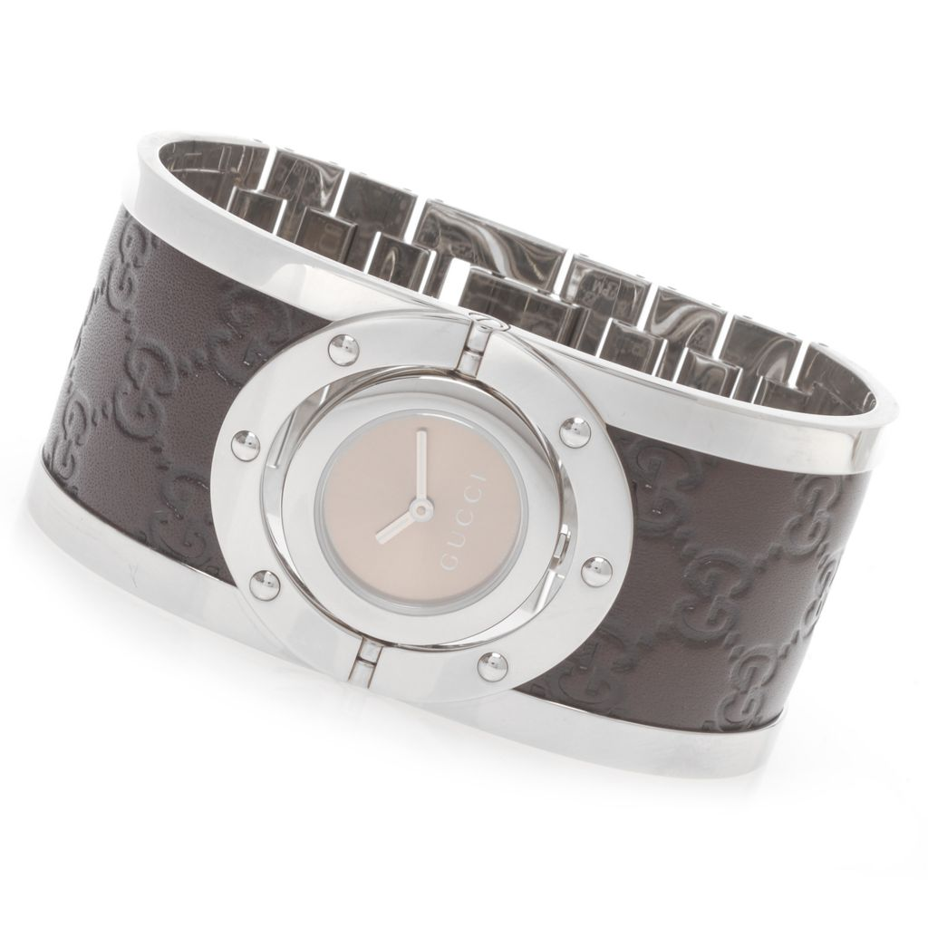 626-577 - Gucci Women's Twirl Swiss Made Quartz Stainless Steel Bangle Bracelet Watch