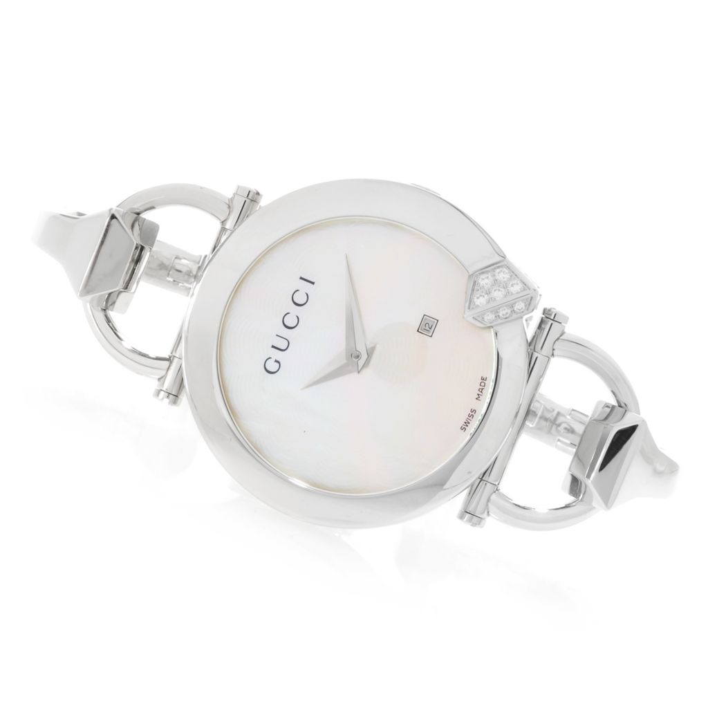 626-582 - Gucci Women's Chiodo Swiss Made 0.21ctw Diamond Mother-of-Pearl Bracelet Watch