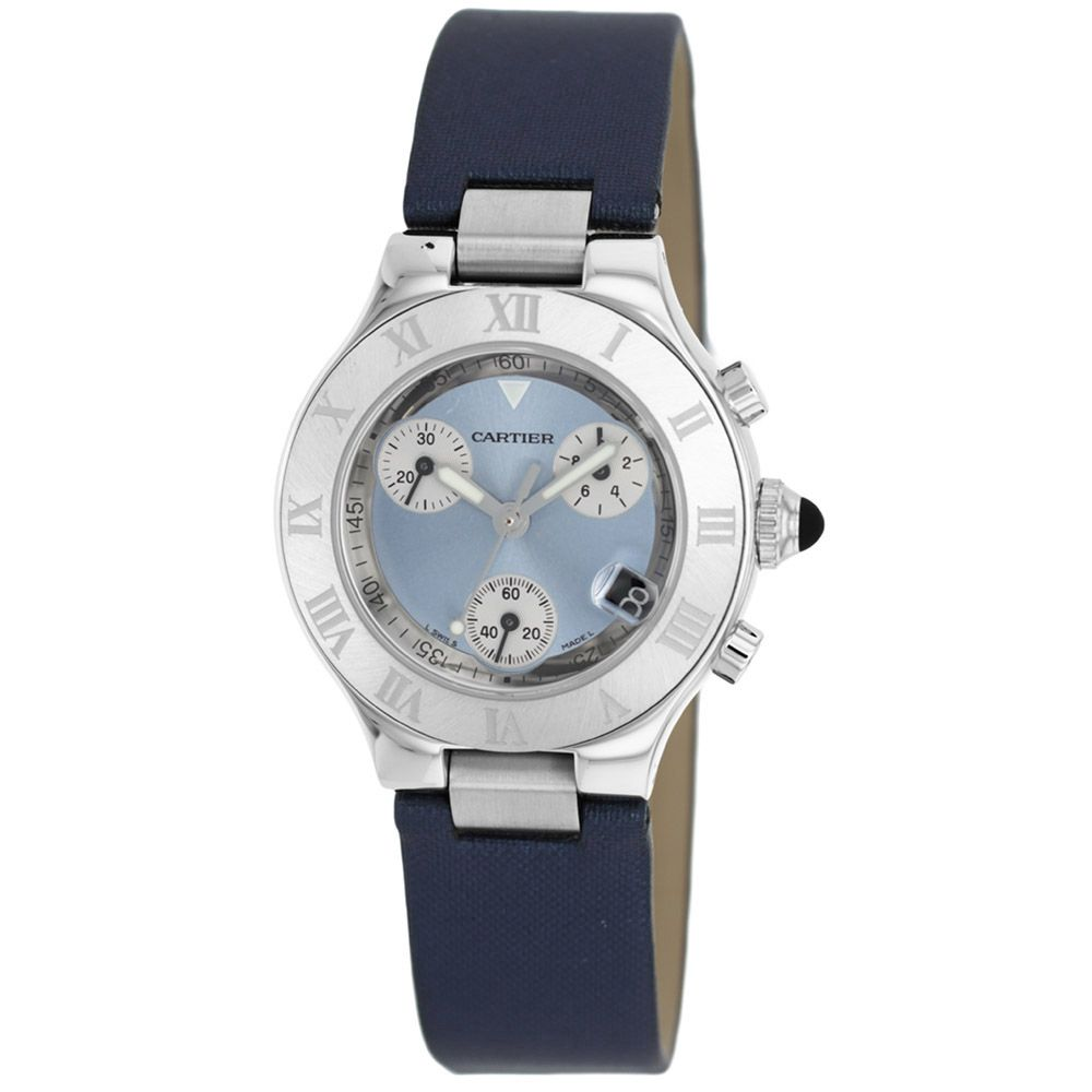 626-593 - Cartier Women's 21 Chronograph Swiss Quartz Chronograph Leather Strap Watch