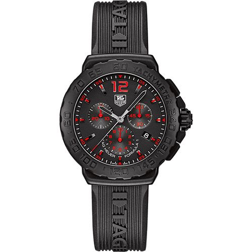 626-598 - Tag Heuer 42mm Formula 1 Swiss Quartz Chronograph Stainless Steel Rubber Strap Watch