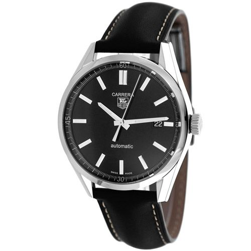 626-602 - Tag Heuer 39mm Carrera Swiss Automatic Date Black Leather Strap Watch