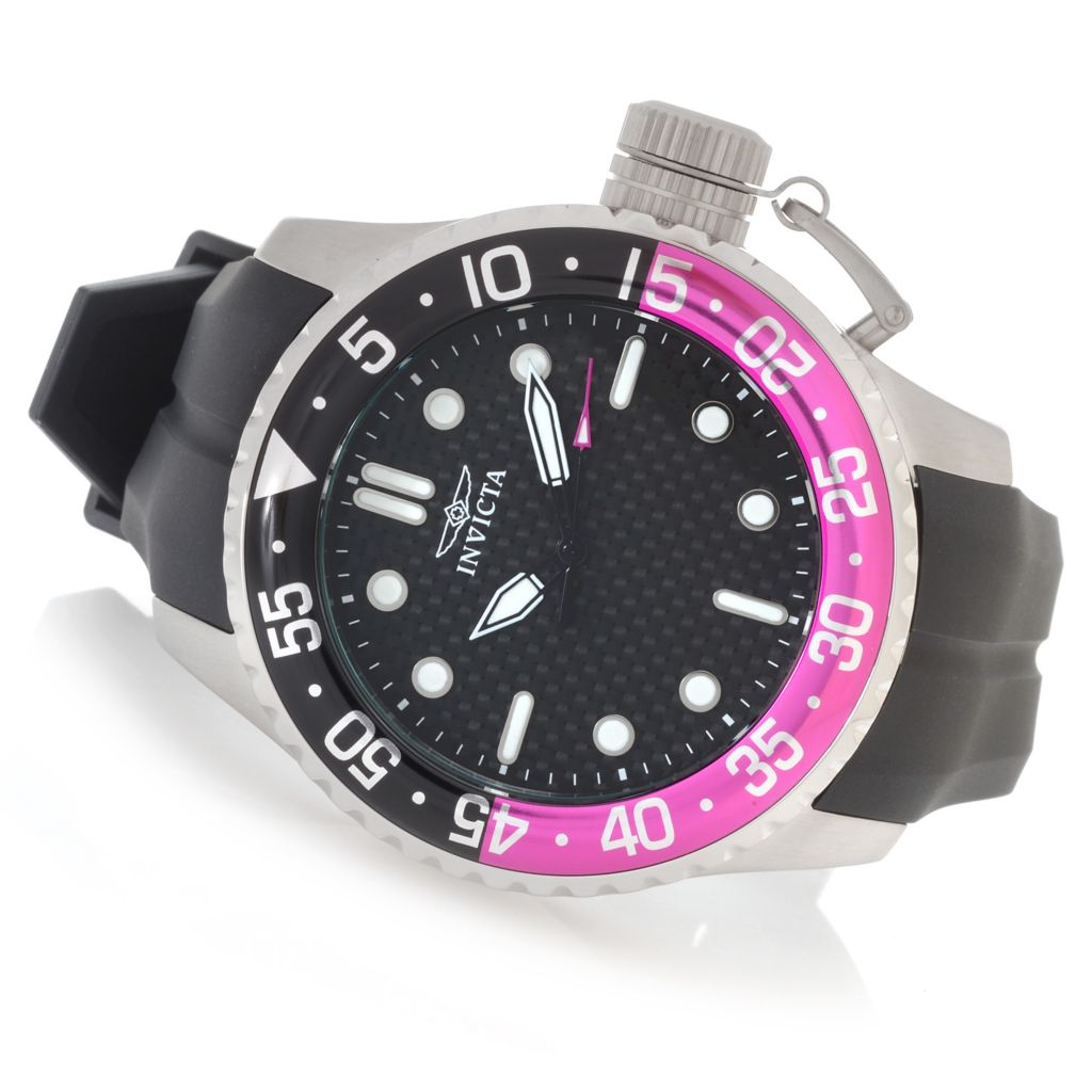 626-609 - Invicta 50mm Pro Diver Quartz Stainless Steel Silicone Strap Watch w/ One-Slot Dive Case